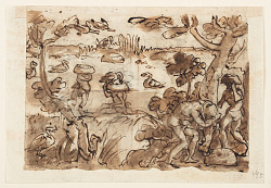 Recto: Hunting Ducks using Pumpkins in the West Indies; Verso, above: Crocodile Hunt in the Nile; Verso, below: Hunting Tigers using Traps and Mirrors
