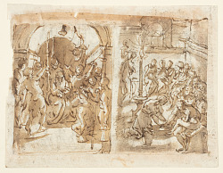 Recto, left: The Mocking of Christ; Recto, right: Christ washing the Feet of the Apostles ; Verso: Execution of of Mary Stuart, Queen of Scots in 1587