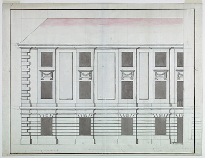 Elevation of the section of a façade of a small palace