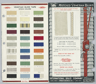 Venetian blind tape sample card