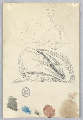 Sketch of Drapery for Seated Figure