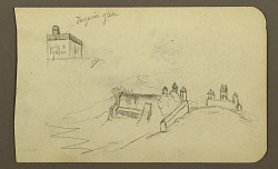 Building, bridge; Verso: Figure, church