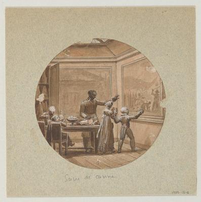 Design for a Painted Porcelain Plate, Sucre de Canne (Sugar Cane) from the Service des Objets de Dessert (Dessert Service)