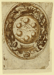 Page of a drawing book; Two designs for a coat of arms of Ferdinand I of Toscana