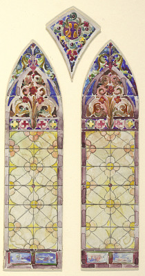 Stained glass window: right pane of three part design