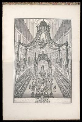 Pompe funèbre de Polixène de Hesse-Rhinfels Reine de Sardaigne en l'église de Notre de Paris le XXIV Mars M. DCC. XXXV. (Funeral of Polyxena of Hesse-Rotenburg, Queen of Sardinia, in the Church of Notre Dame of Paris, March 24, 1735)