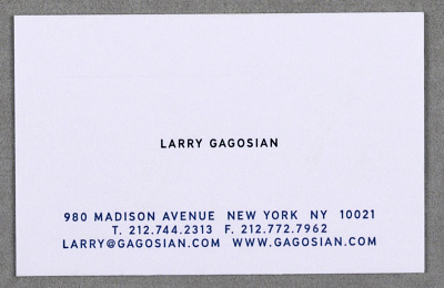 Business Card for Gagosian Gallery, New York