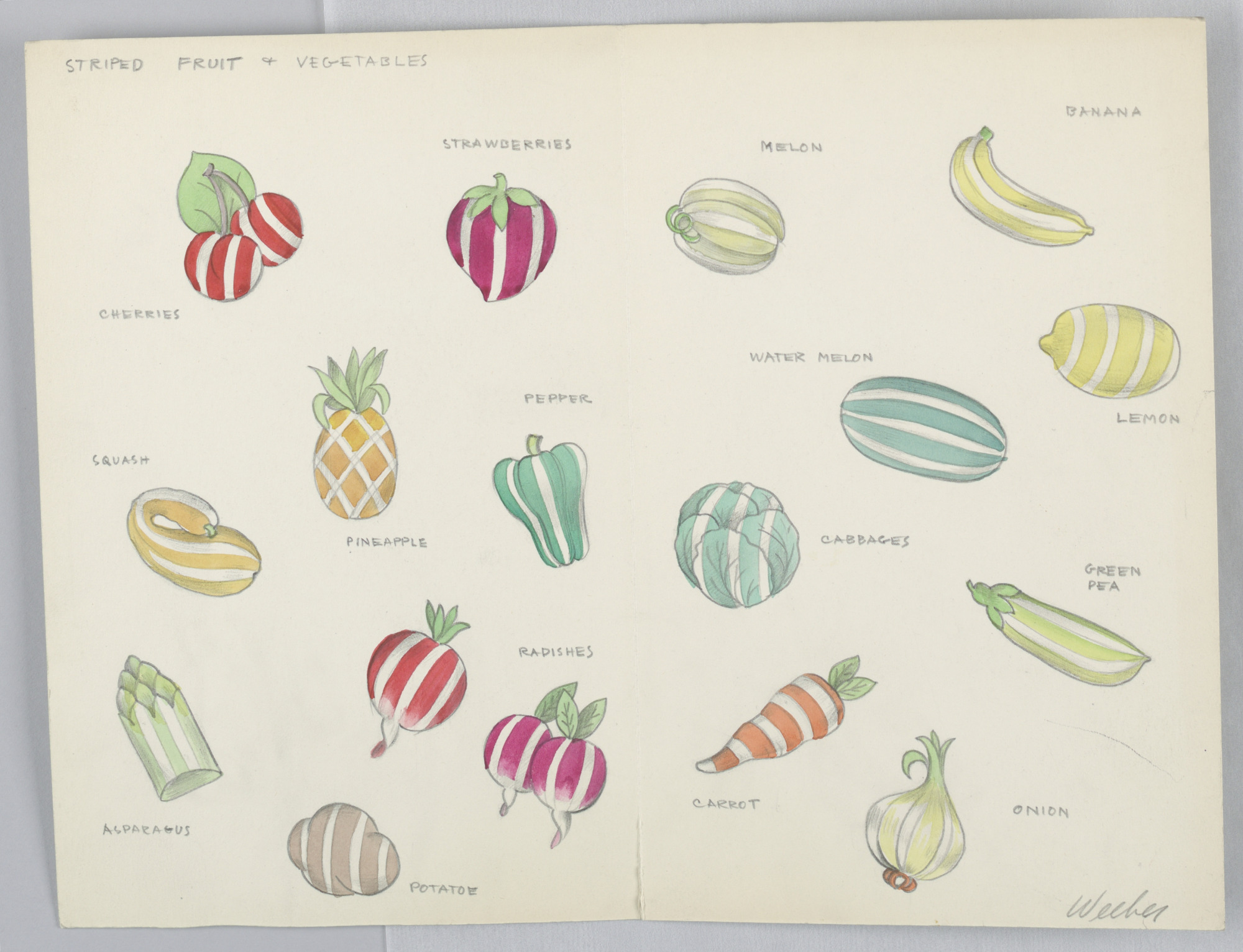 images for Button Design: Striped Fruit and Vegetables