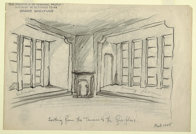 Stage Design: Looking from the Terrace toward Fireplace
