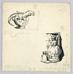 """An Alligator in the Coal Scuttle"" and ""She Felt Behind the Books,"" Illustrations for ""Little April Fool"" in ""Pinafores and Pantalets"""