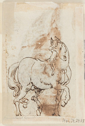 Page of a drawing book; Study for painting of St. Magdalen; A stallion