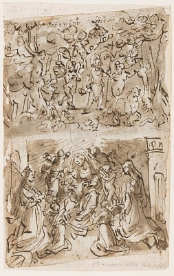 Recto, above: Young St. John the Baptist in the Desert; Recto, below: Sacra Conversazione with Sts. Barbara and Catherine; Verso, above: Christ on the Cross; Verso, below: Christ healing paralytics near the pool of Bethesda