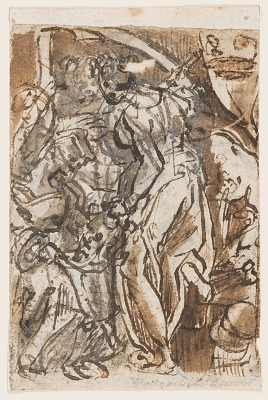 Recto: Judith with head of Holofernes; Verso: Preliminary Design for Title Plate of the Seven Planets print series