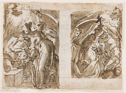 Recto: Two view of Judith killing Holofernes; Verso: Fountain in Fiesole