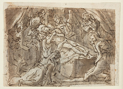 Recto: Lamentation over the dead Christ; Verso: Zeuxis painting Helen of Troy