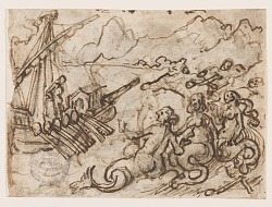 Page of a sketchbook: Ulysses passes the Sirens (recto); Ulysses in the Underworld (verso)