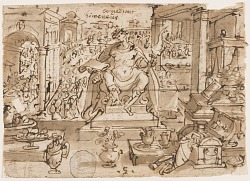 """Recto: Hymenaeus, or """"Nuptiae"""" (God of Weddings), design for pl. 5 in the Schema, seu Speculum Principum series; Verso: inscription regarding the sending of drawings for the series"""