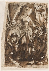 Recto: Judith with the head of Holofernes; Verso, left: Judith with the head of Holofernes; Verso, right: preliminary design for titlepage for print series of The Seven Virtues