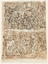 Four scenes from the life of St. John the Baptist, preliminary designs for a print series (recto and verso)