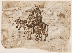 Page of a sketchbook; Flight into Egypt; Crucifixion