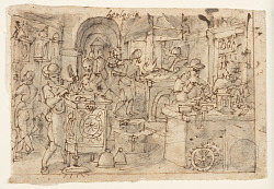 "Recto: ""Horologia Ferrea,"" (Invention of Clockwork), preliminary design for plate 10 of the Nova Reperta (New Inventions of Modern Times) print series; Verso: Last Supper"