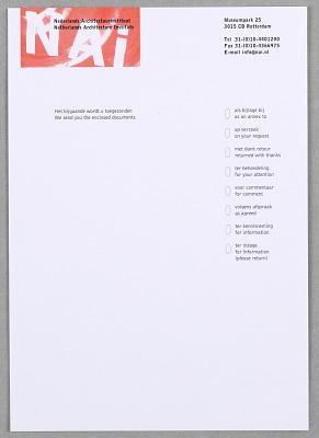 NAI (Nederlands Architectuurinstituut) Enclosure Card