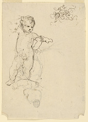 Sketches, The Child, Saint John, and the Cross Supported by Flying Angles (?)
