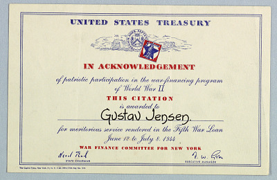 United States Treasury Citation to Gustav B. Jensen