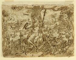 "Recto: Diana, or ""Venatio"" (Allegory of the Hunt), preliminary design for pl. 4 in the Schema, seu Speculum Principum (Skills of a Prince) series; Verso: Diving for Pearls in the Persian Gulf"