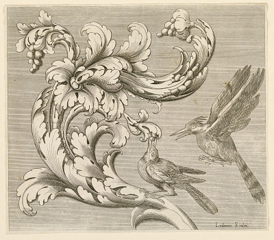 Acanthus motif with two birds