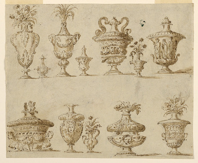 12 decorated vases and urns