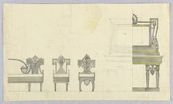 Designs for a Sofa, Chairs, and Vanity Table
