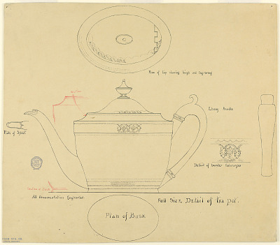 Full Scale Plan for Engraved George III Style Silver Teapot