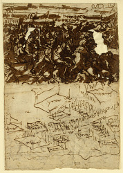Recto, above: Charles V defeating the Turks near Vienna, 1529, preliminary design for lost painting on the Canto de' Bischeri in Florence erected on the occasion of the entry of Christina of Lorraine, bride of Duke Ferdinando de' Medici, 1589; Recto, below: Battle-array with king, elephants, cavalry and infantry (Battle of the Hydaspes?); Verso: The fortifications of Ostende