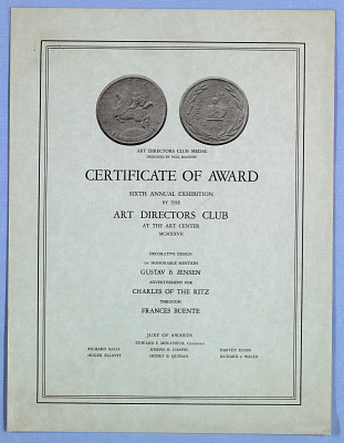 Certificate, Art Directors Club Award
