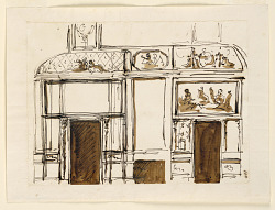 Elevations of a wall, ceiling, mantelpiece