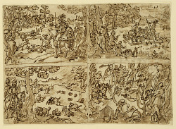Recto: Four Hunting Scenes, designs for the Venationes print series; Verso: Plan of a Fortified City, and notes by Luigi Alamanni regarding the Nova Reperta series (verso)