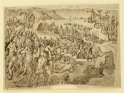 Conquest of the Philippine Islands, preliminary design for grisille painting realized by Stradanus' son Scipione, for the obsequies in memory of Philip II of Spain, held at San Lorenzo in Florence on 12 November 1598