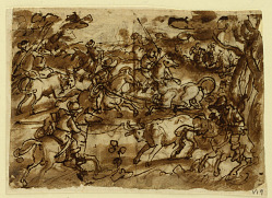 Recto: Bull hunt with Lassos; Verso, above: Bear hunt by Men in Armor; Verso, below: Hunting Monkeys by Deception; all preliminary designs for the Venationes series