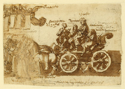 Page of a sketchbook; Chariot and three horses