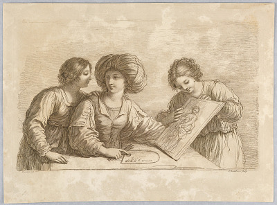 Three Women with a Palette and Sketch of a Design