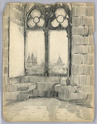 Stone Interior with Pair of Gothic Windows