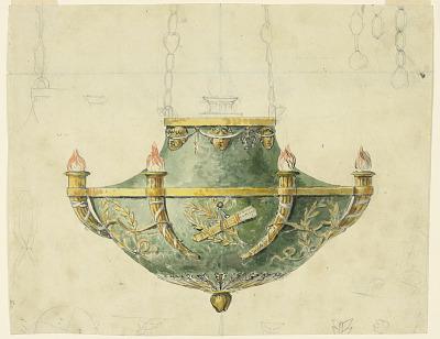 Design for an Oil-burning Pendant Lamp