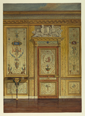 Section of wall, bedroom of Marie Antoinette, Palace of Fontainebleau, France