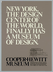 New York, The Design Center of the World, Finally has a Museum of Design.