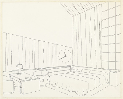 Design for Bedroom with Giant Wall Clock, George C. and Eleanor Hutton Rand Apartment, 46 Washington Mews, New York, NY