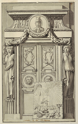 Irlande et sa Religion, (Ireland and its Religion), portal design for plate 44 in the