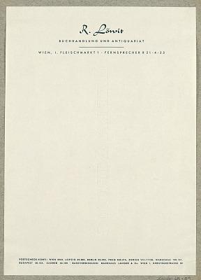 R. Löwit, Buchhandlung und Antiquariat, Wien [R. Löwit, Antiquarian Book Dealer, Vienna]