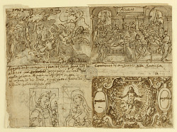 Recto, Above left: Wooded landscape with Elijah awakened and nourished by an angel on Mount Horeb (1 Kings 19:5-6); Above right: The banquet of King Ahasuerus (Esther 1: 1-6)' Below right: Christ surrounded by angles with the Arma Christi; Below left: Annunciation. Verso, above left: Parable of the royal wedding feast (Matthew 22:1-14); Above right: David receives the holy bread; Below right: St. Anthony of Padua and two monks; Below left: inscription related to John 6:48-60