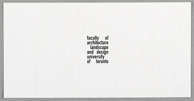 Card with Computer-generated Typographic Exploration of New Identity for Faculty of Architecture Landscape and Design, University of Toronto